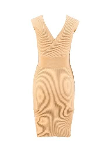 Setre Lila V Yaka Triko Elbise Bej